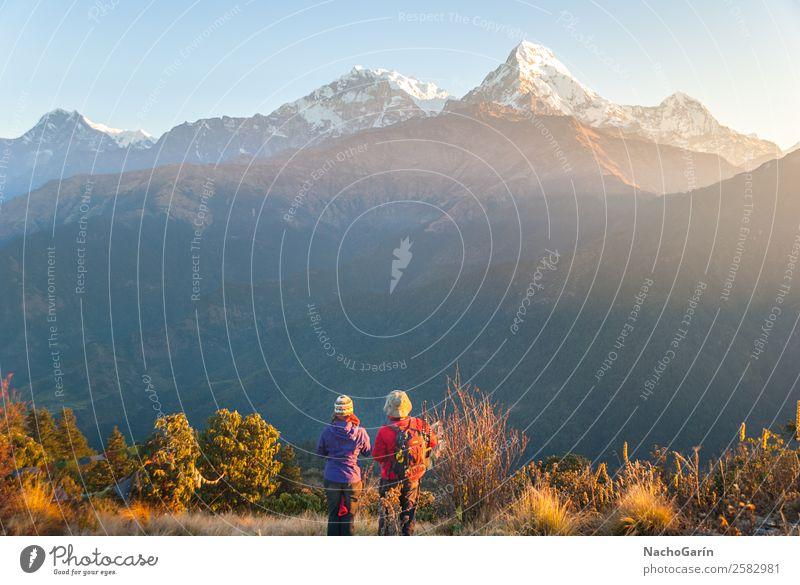 Hikers enjoying sunset in Himalaya mountains Vacation & Travel Tourism Adventure Freedom Expedition Snow Mountain Hiking Climbing Mountaineering Human being