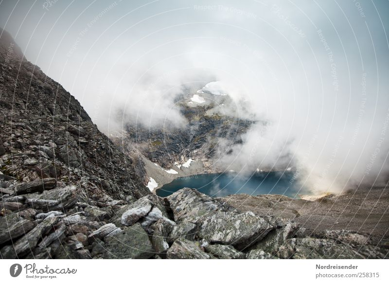 Blue Water Loneliness Calm Landscape Mountain Stone Lake Moody Weather Brown Rock Fog Glittering Hiking Adventure