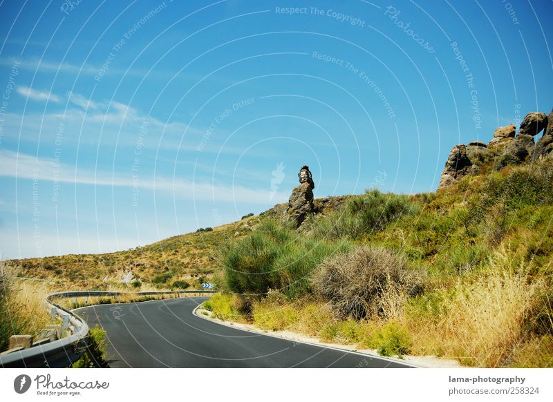 Nature Blue Green Plant Vacation & Travel Street Landscape Mountain Rock Trip Adventure Bushes Hill Spain Summer vacation Cloudless sky