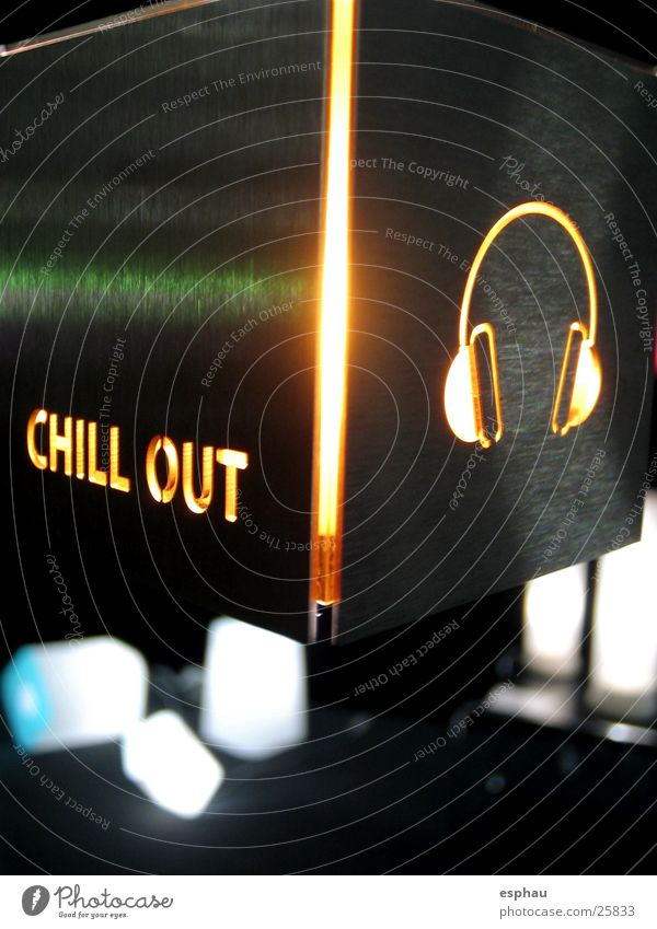 chill-out Headphones Disco Symbols and metaphors Typography Letters (alphabet) Light Night life Bar Style Lamp Photographic technology Music Metal Characters
