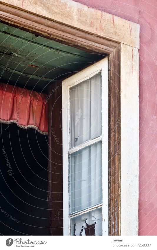 Old Green House (Residential Structure) Window Wall (building) Building Wall (barrier) Pink Facade Open Living or residing Manmade structures Shabby Drape Curtain