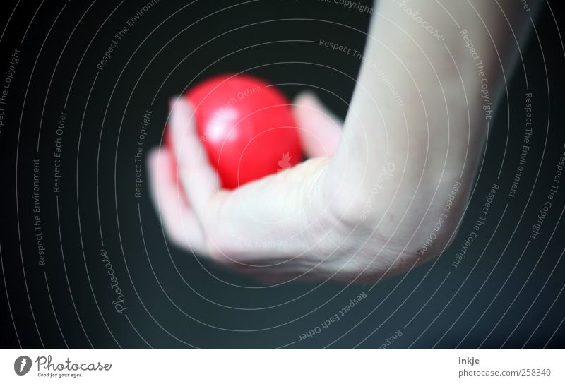 take off Nail polish Leisure and hobbies Playing Ball sports Hand Women`s hand Sphere Plastic To hold on Throw Simple Round Red Joy Serene Patient Calm
