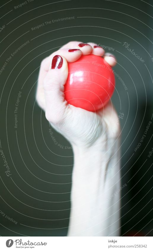 snatch Nail polish Leisure and hobbies Ball sports Hand Women`s hand Sphere Plastic Catch To hold on Throw Simple Elegant Round Feminine Red Emotions