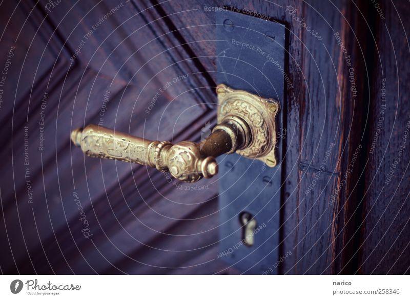 the secret is behind the door Craft (trade) Art Work of art Village Dream house Church Building Door Door handle Wood Metal Gold Esthetic Beautiful Uniqueness