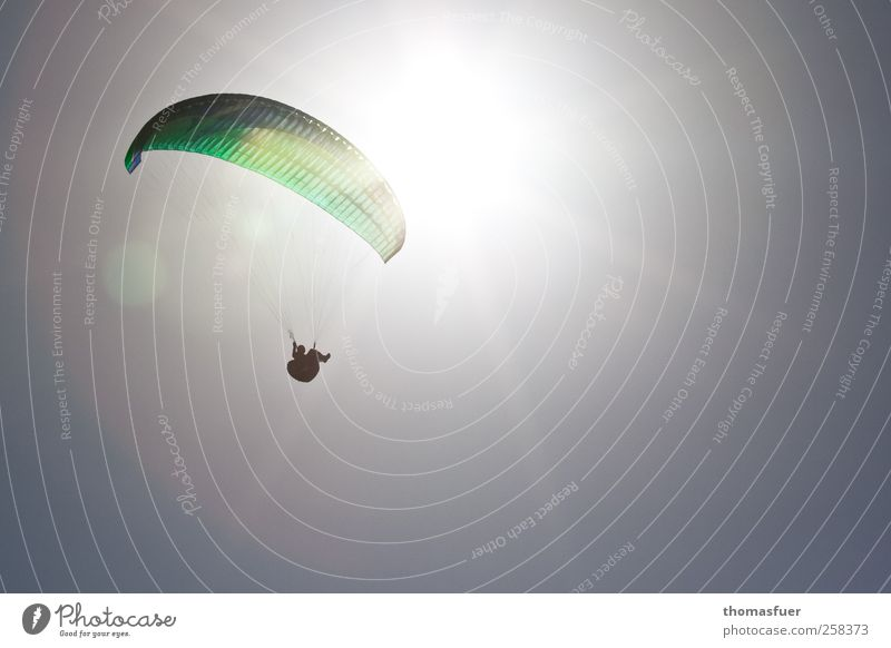 icarus 1 Leisure and hobbies Paragliding Adventure Freedom Summer Sun Flying Human being Cloudless sky Beautiful weather Aircraft Esthetic Infinity Gray Green
