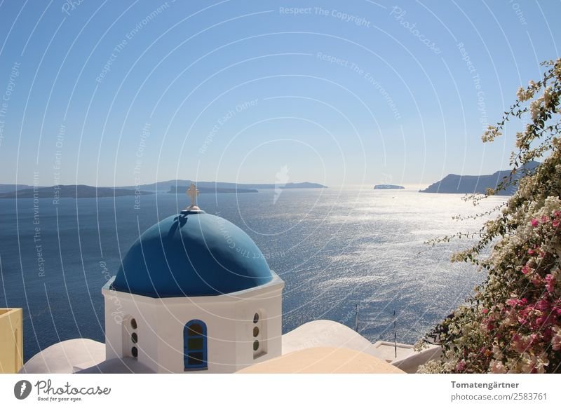 View into the Caldera Landscape Water Sky Beautiful weather Ocean the Aegean Island Santorini Church Domed roof Stone Crucifix Esthetic Blue Pink White Calm