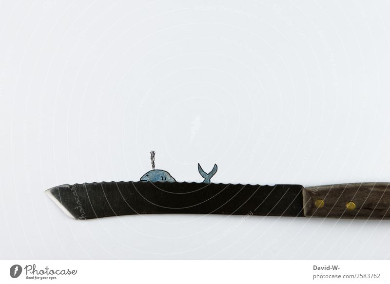 whale Design Hunting Human being Art Work of art Environment Nature Water Climate Climate change Waves Ocean Swimming & Bathing Colossus Whale Whaling Knives