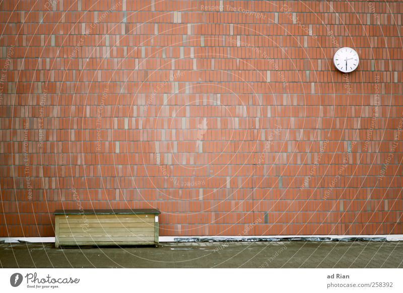 The Wall Clock Deserted Places Facade Brick Gloomy Town Advancement Date Colour photo Exterior shot Day Long shot