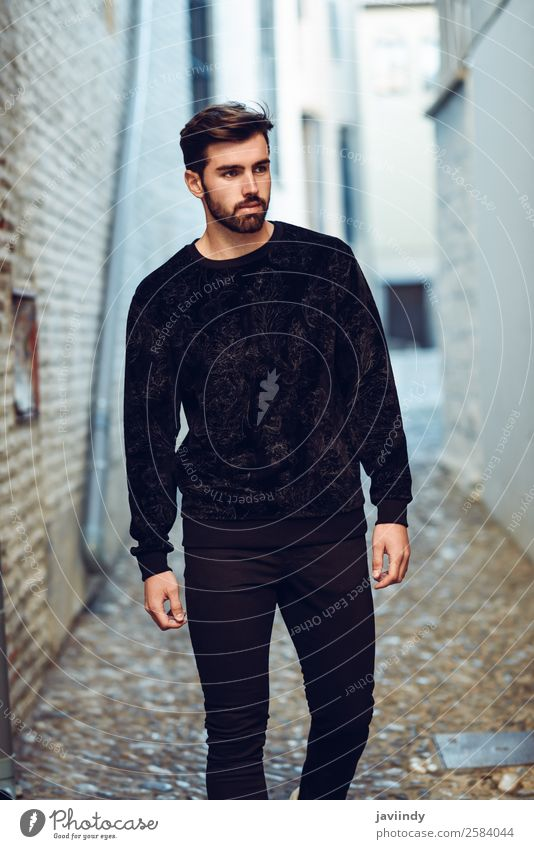Young bearded man in urban background wearing casual clothes Lifestyle Style Beautiful Hair and hairstyles Human being Masculine Young man Youth (Young adults)