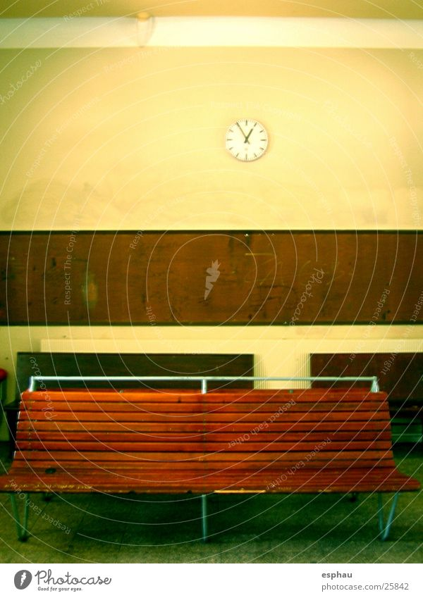the clock is ticking Waiting room Station Clock Things Furniture Transport Train station Bench Vacation & Travel Empty Foyer Room Architecture