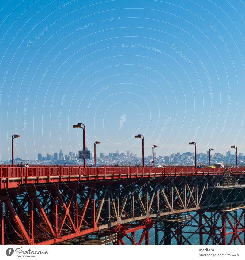 City Vacation & Travel Far-off places Street Transport Bridge Driving USA Skyline Steel Traffic infrastructure Motoring Sightseeing Passenger traffic
