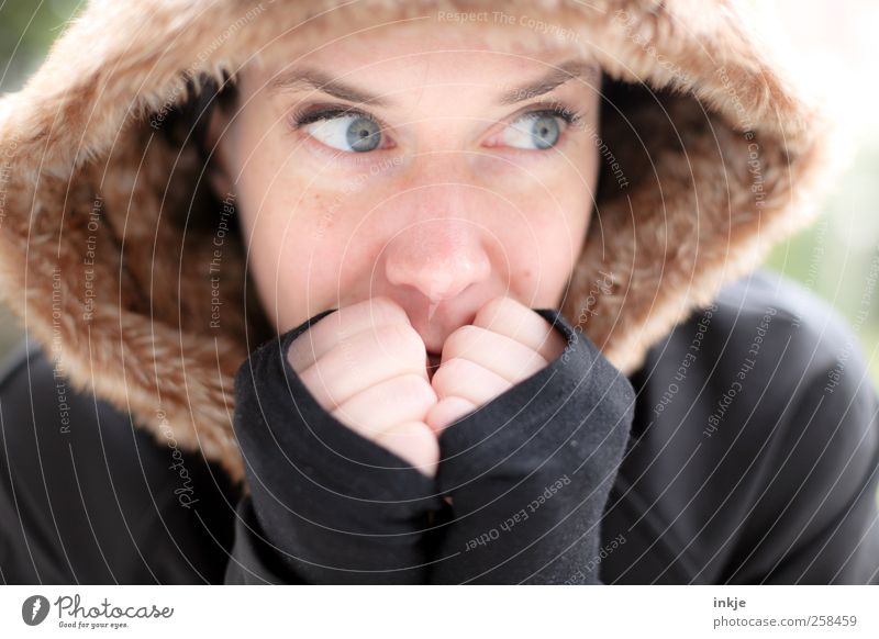 Woman Human being Beautiful Face Adults Feminine Cold Life Warmth Think Wait Natural Fresh Soft Pelt Protection