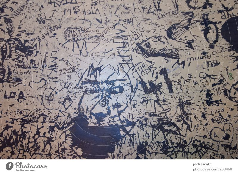 Dark Graffiti Interior design Wood Exceptional Line Art Head Action Decoration Crazy Characters Esthetic Table Creativity Change