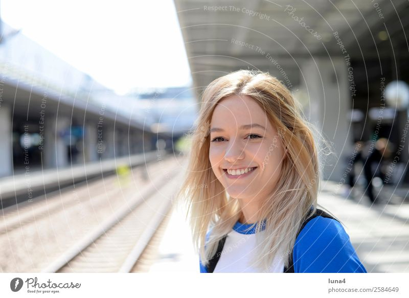 young woman on platform Lifestyle Joy Happy Beautiful Contentment Vacation & Travel Tourism Young woman Youth (Young adults) Woman Adults Train station