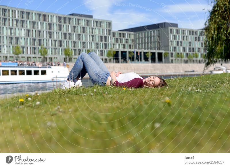 Woman Youth (Young adults) Young woman Summer Town Beautiful Relaxation Joy Lifestyle Adults Meadow Berlin Laughter Happy Tourism Watercraft
