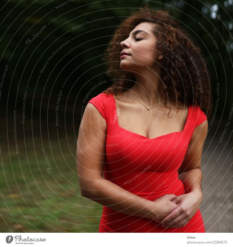 Nikoliya Feminine Woman Adults 1 Human being Park Forest Dress Jewellery Brunette Long-haired Curl Breathe To hold on To enjoy Stand pretty