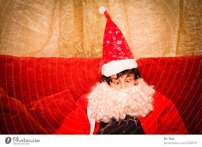 Stop it, stop it, Santa Claus. Christmas & Advent Masculine Child Facial hair 1 Human being 8 - 13 years Infancy Cap Sit Red Colour photo Studio shot Upper body