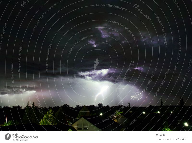 Lightning and Thunder Nature Storm clouds Night sky Weather Bad weather Thunder and lightning Town Illuminate Threat Dark Fear Colour photo Exterior shot