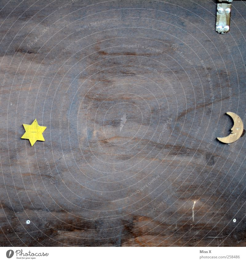 Moon & Stars Sign Contentment Half moon Star (Symbol) Wood Board Colour photo Pattern Structures and shapes Deserted Copy Space middle