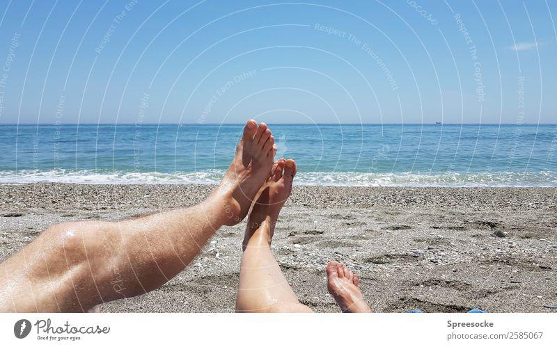 Woman Human being Vacation & Travel Man Summer Sun Ocean Relaxation Joy Beach Far-off places Adults Legs Warmth Feminine Couple