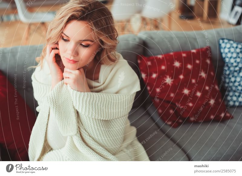 indoor portrait of young selfish beautiful woman Lifestyle Illness Harmonious Relaxation Winter Woman Adults Dream Hot Modern Natural Strong Loneliness