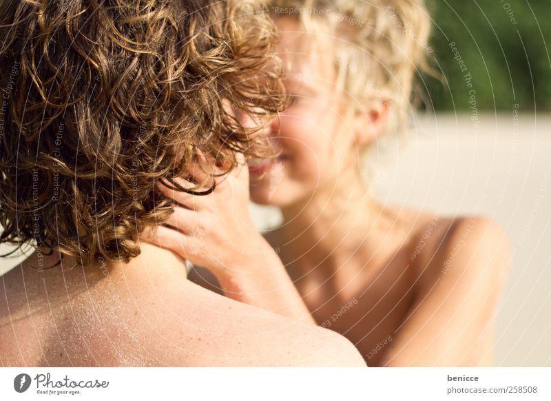kiss Couple Lovers Beach Bikini European caucasian Smiling Kissing Vacation & Travel Summer Sandy beach Laughter Joy Sun Sunbeam Youth (Young adults)