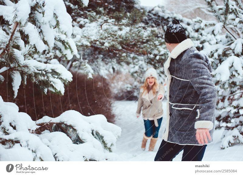 Lifestyle winter portrait of romantic couple walking Joy Vacation & Travel Adventure Freedom Winter Snow Winter vacation Woman Adults Man Couple Nature Snowfall