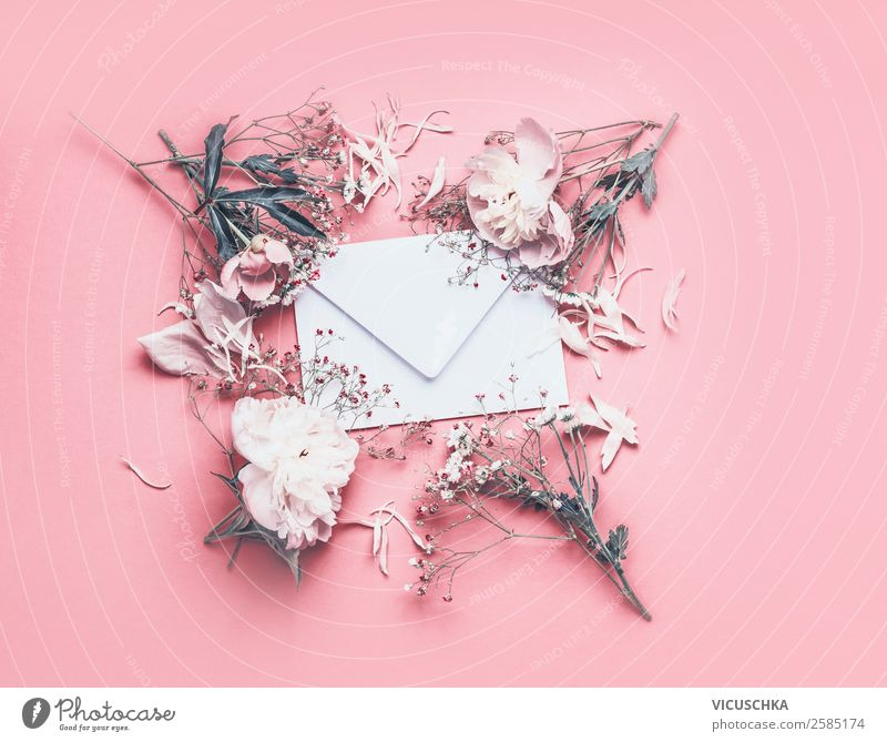 White envelope with flowers on pink background Lifestyle Style Design Feasts & Celebrations Valentine's Day Mother's Day Wedding Birthday Email Nature Plant