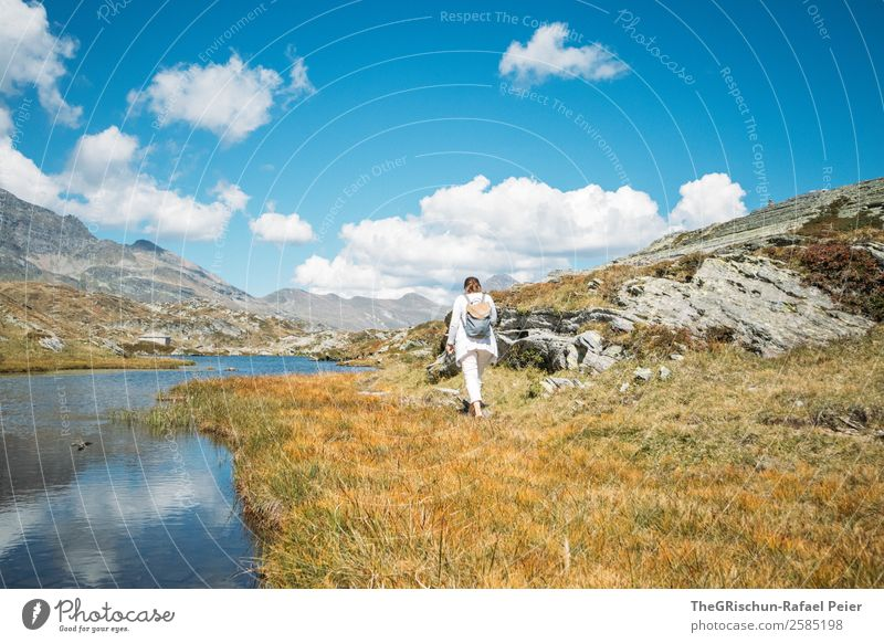 stroll Nature Landscape Blue Brown Yellow Gold White Pass Lake To go for a walk Walking Movement Autumn Woman Backpack Clouds Rock Mountain Grass Colour photo