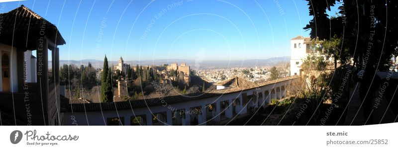 View Alhambra Granada Spain Vantage point Wall (barrier) Panorama (View) Europe Sun Beautiful weather Large Panorama (Format)