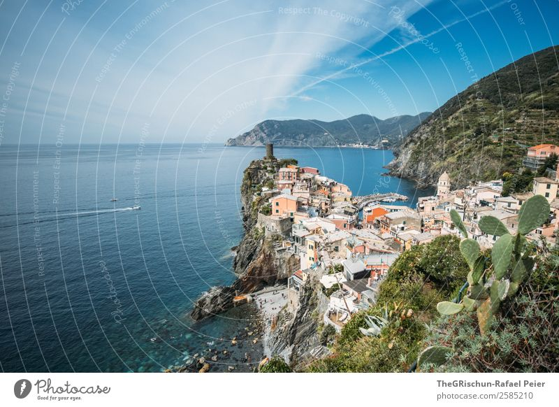 vernazza Landscape Blue Multicoloured Green Vernazza Italy Cinque Terre House (Residential Structure) Cliff Tourism Discover Beach Ocean Coast Hill