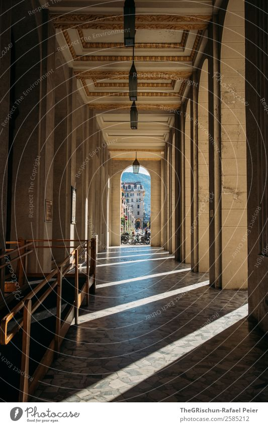 La Spezia Small Town Brown Black Column Architecture Cinque Terre Italy Perspective Light Shadow Structures and shapes Corridor Old