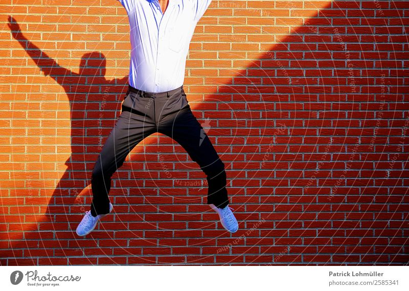 Human being Man Joy Adults Wall (building) Movement Happy Wall (barrier) Fashion Contentment Jump Masculine Body Elegant 45 - 60 years Happiness