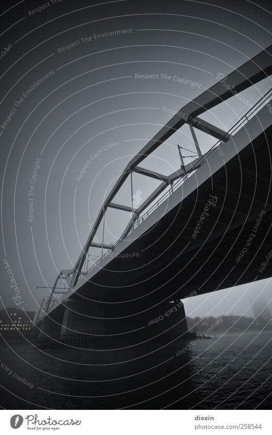Sky Water City Clouds Black Cold Dark Architecture Gray Fog Wet Transport Bridge River Manmade structures Traffic infrastructure