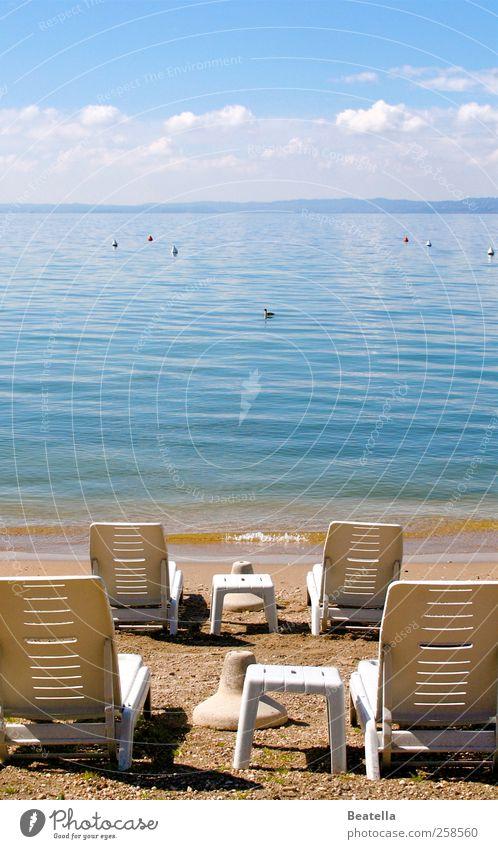 Water Environment Landscape Contentment Plastic Beautiful weather Lakeside Deckchair Lake Garda