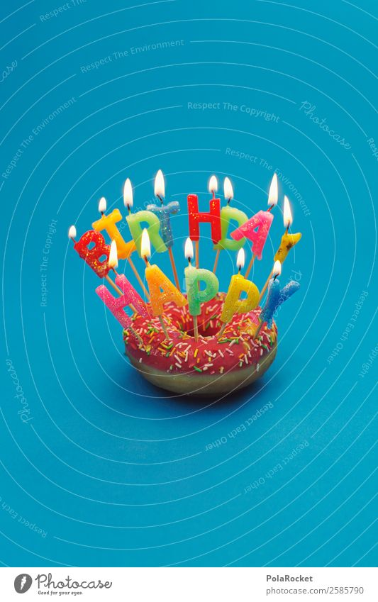 #A# Happy Birthday Donut Art Esthetic Birthday cake Birthday gift Birthday wish Congratulations Jubilee Feasts & Celebrations Candle Candlelight