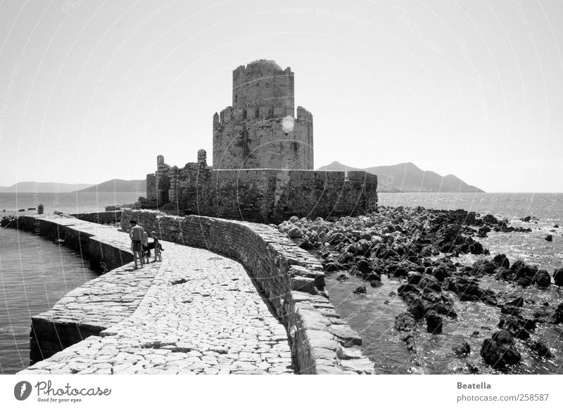 Methoni Castle Far-off places Sightseeing Ocean Landscape Water Coast Ruin Manmade structures Building Wall (barrier) Wall (building) Tourist Attraction Stone