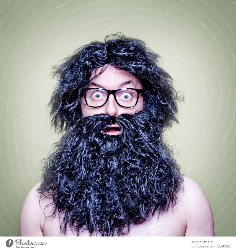 hair Human being Masculine Man Adults 1 30 - 45 years Observe Black Eyeglasses Freak Hair and hairstyles prehistoric man Whimsical Humor Funny Amazed