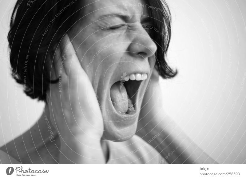 Human being Woman Face Adults Life Emotions Moody Wild Crazy Communicate To hold on Protection Listening Anger Scream Pain