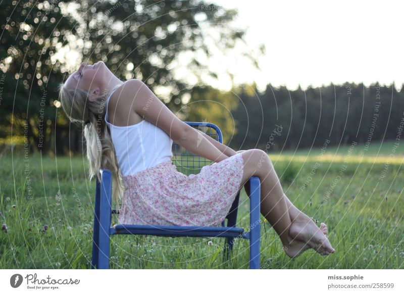 Youth (Young adults) Blue Green Sun Summer Relaxation Feminine Life Freedom Happy Warmth Dream Contentment Body Sit Chair
