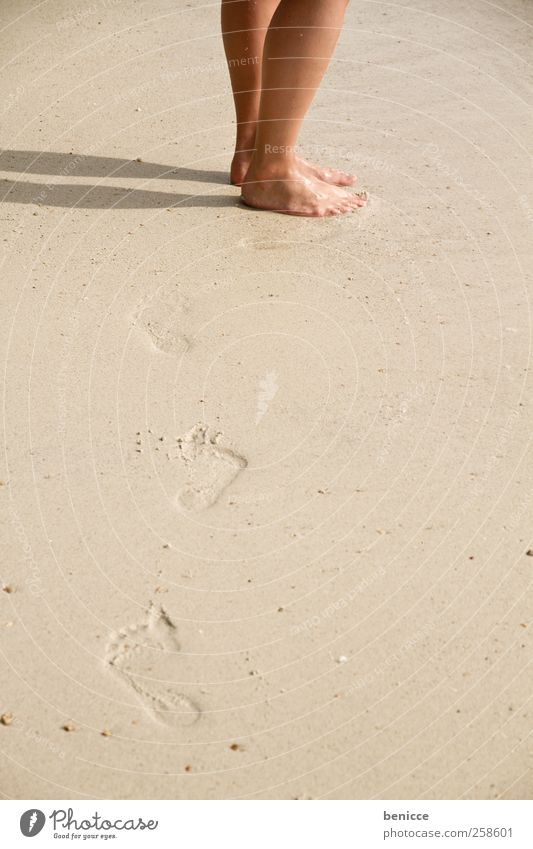 footprints Footprint Feet Legs Man Woman Beach Vacation & Travel Lanes & trails Going Corridor Sand Sandy beach Speech bubble copyspace European Thailand Asia