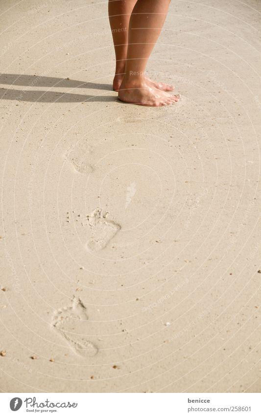 Woman Man Sun Vacation & Travel Beach Lanes & trails Sand Legs Feet Going Asia Footprint Thailand Corridor European Sandy beach