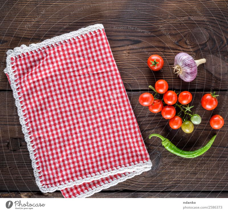 fresh cherry tomatoes Vegetable Herbs and spices Nutrition Vegetarian diet Table Kitchen Nature Wood Fresh Natural Above Juicy Green Red Towel Napkin