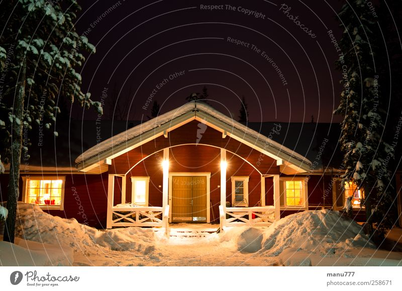 Romantic Finnish Winter Holiday House Environment Nature Ice Frost Snow Forest House (Residential Structure) Dream house Stairs Terrace Window Door Roof
