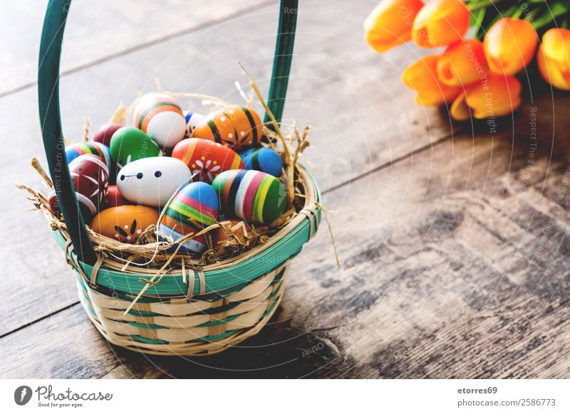 Easter eggs in a basket and tulips Egg Colour Vacation & Travel Feasts & Celebrations Public Holiday Background picture Guest Decoration Festive Spring