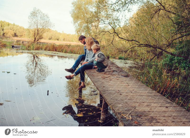 happy family spending time together outdoor Nature Vacation & Travel Summer Tree Forest Lifestyle Adults Warmth Autumn Love Family & Relations Boy (child)