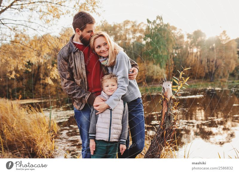 happy family spending time together outdoor Nature Vacation & Travel Summer Tree Forest Lifestyle Adults Autumn Love Family & Relations Happy Boy (child)