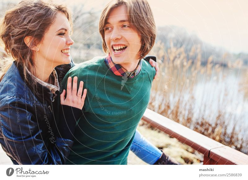 happy couple having fun in autumn Lifestyle Joy Vacation & Travel Woman Adults Man Family & Relations Friendship Couple Nature Autumn Smiling Laughter Love