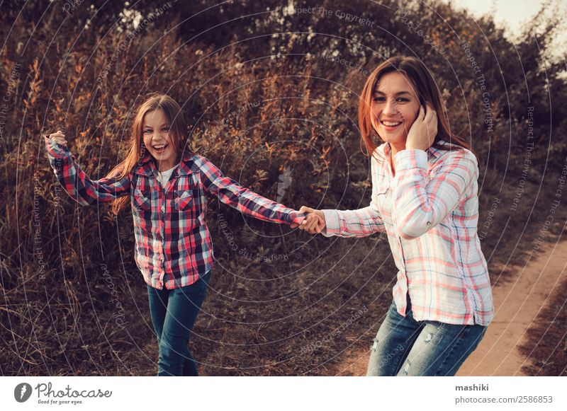 happy mother and daughter on the walk on summer Lifestyle Joy Happy Playing Vacation & Travel Summer Parents Adults Mother Family & Relations Nature Autumn
