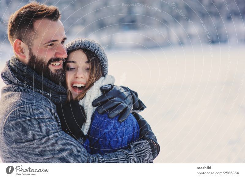 happy loving couple walking in snowy winter forest Lifestyle Joy Relaxation Leisure and hobbies Vacation & Travel Freedom Winter Snow Man Adults Couple Warmth
